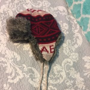 EUC American Eagle knit and fur hat